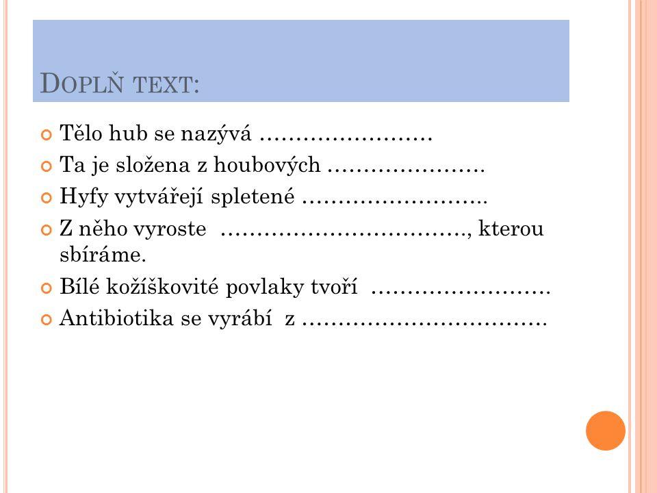 Doplň text: Tělo hub se nazývá ……………………