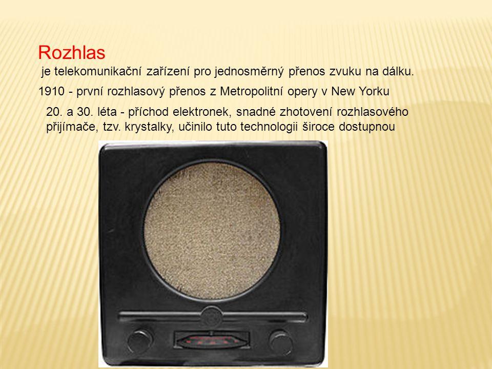 Rozhlas je telekomunikační zařízení pro jednosměrný přenos zvuku na dálku.
