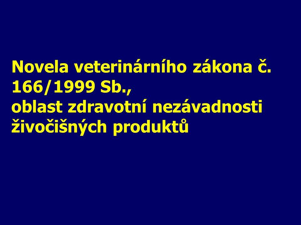 Novela veterinárního zákona č. 166/1999 Sb