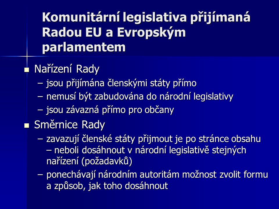 Komunitární legislativa přijímaná Radou EU a Evropským parlamentem