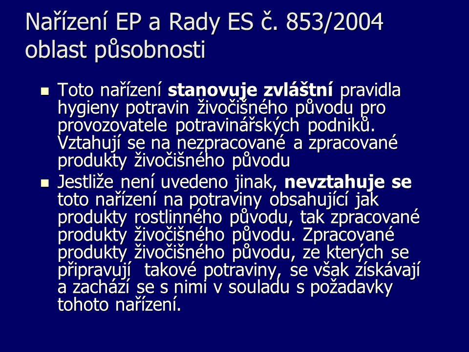 Nařízení EP a Rady ES č. 853/2004 oblast působnosti