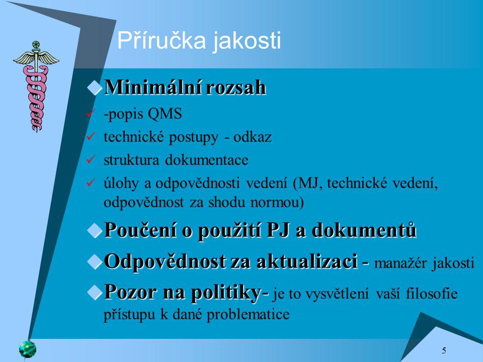 Příručka jakosti Minimální rozsah Poučení o použití PJ a dokumentů