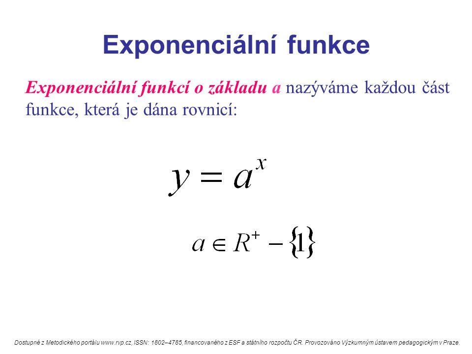 Exponenciální funkce Exponenciální funkcí o základu a nazýváme každou část funkce, která je dána rovnicí: