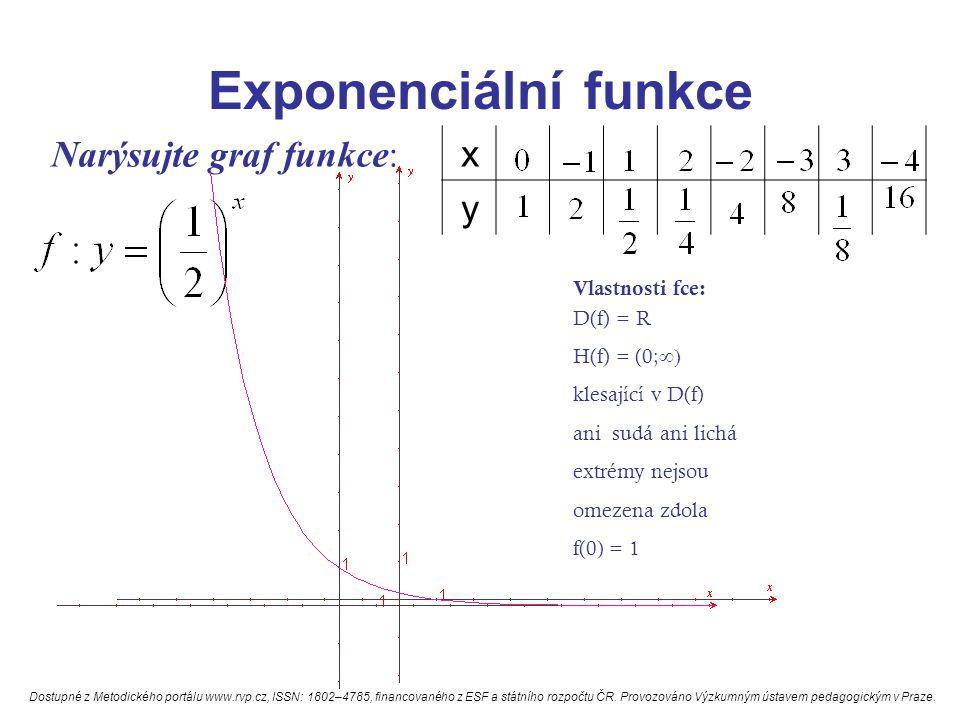 Exponenciální funkce x y Narýsujte graf funkce: Vlastnosti fce: