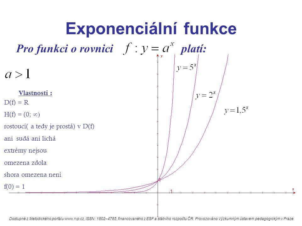 Exponenciální funkce Pro funkci o rovnici platí: Vlastnosti : D(f) = R