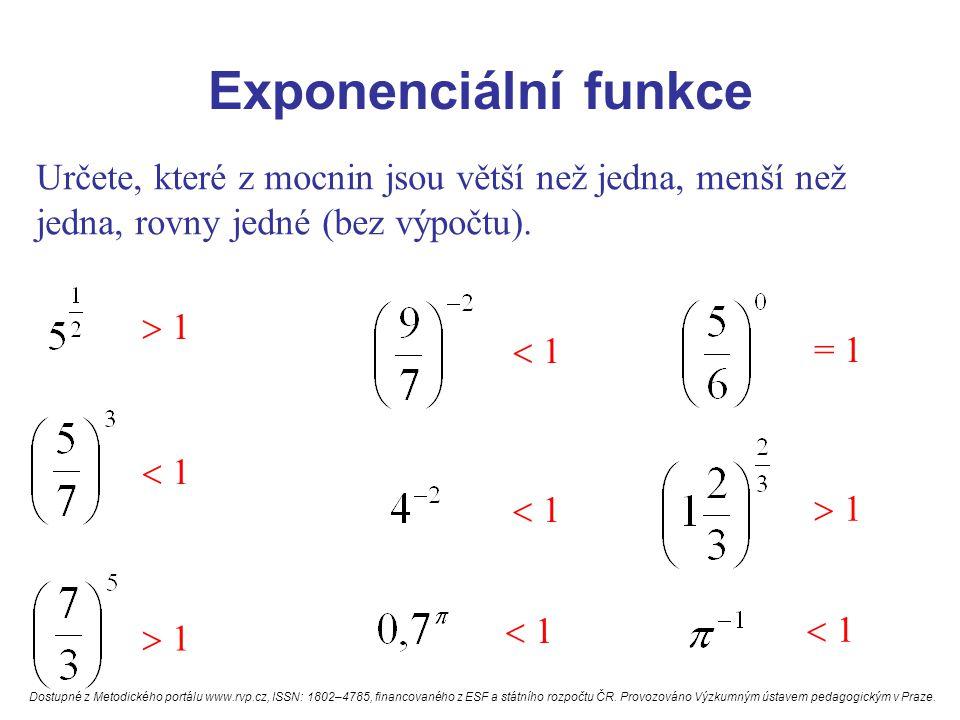 Exponenciální funkce Určete, které z mocnin jsou větší než jedna, menší než jedna, rovny jedné (bez výpočtu).