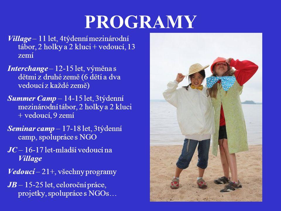 PROGRAMY Village – 11 let, 4týdenní mezinárodní tábor, 2 holky a 2 kluci + vedoucí, 13 zemí.