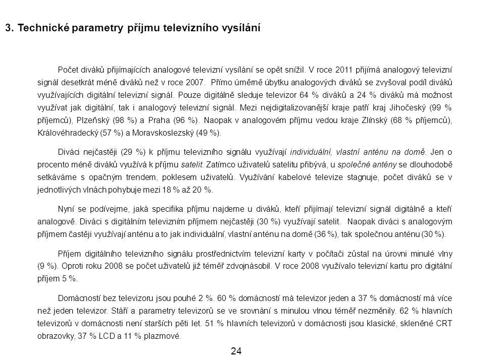3. Technické parametry příjmu televizního vysílání