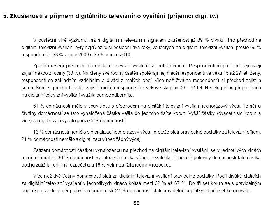 5. Zkušenosti s příjmem digitálního televizního vysílání (příjemci digi. tv.)