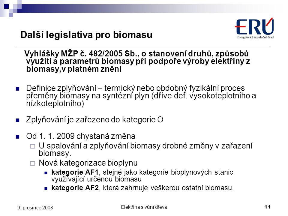 Další legislativa pro biomasu