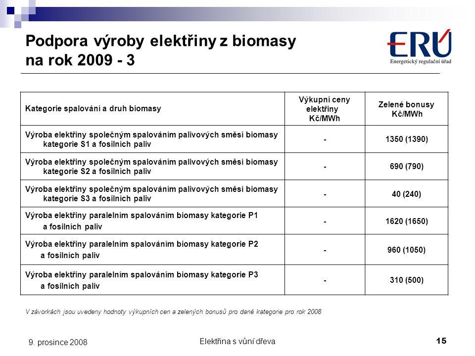 Podpora výroby elektřiny z biomasy na rok 2009 - 3