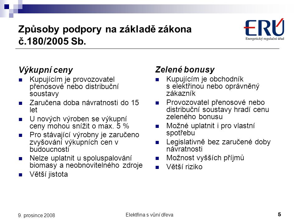 Způsoby podpory na základě zákona č.180/2005 Sb.