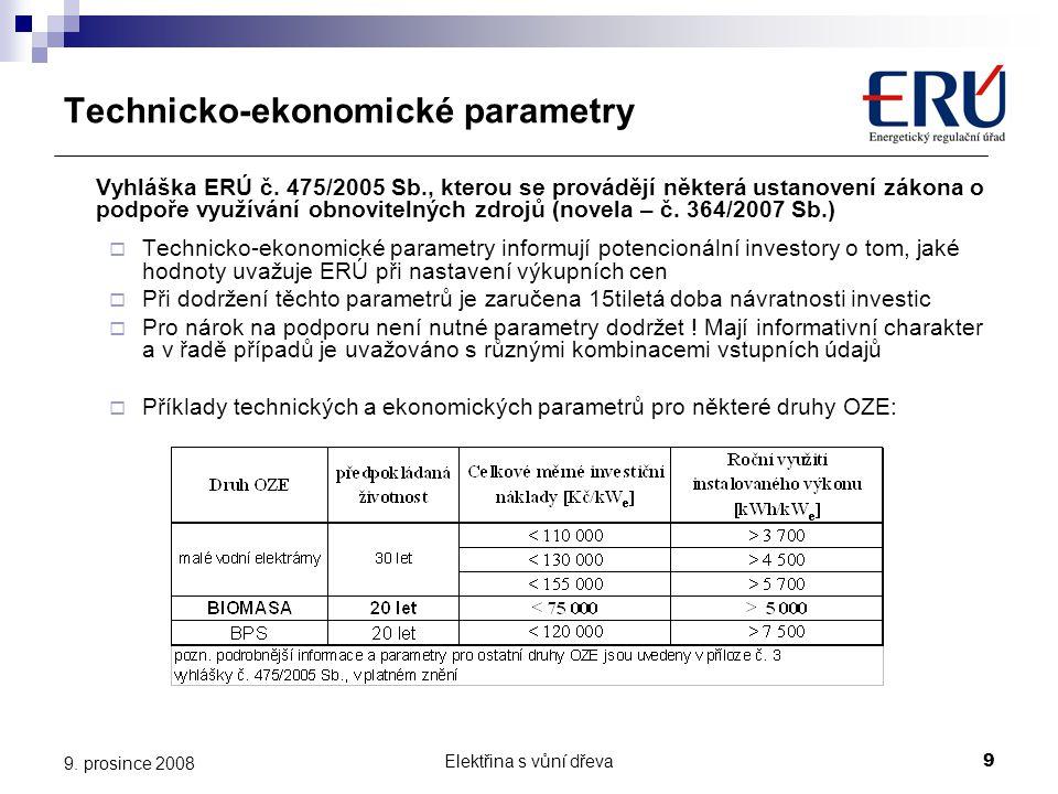 Technicko-ekonomické parametry