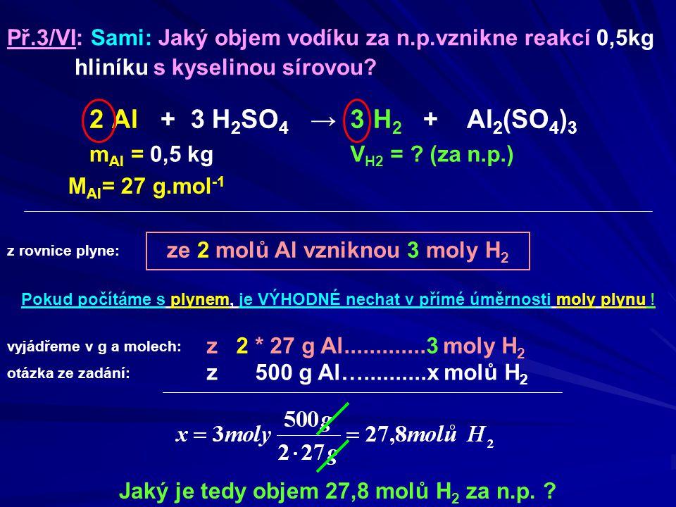 Př. 3/VI: Sami: Jaký objem vodíku za n. p. vznikne reakcí 0,5kg