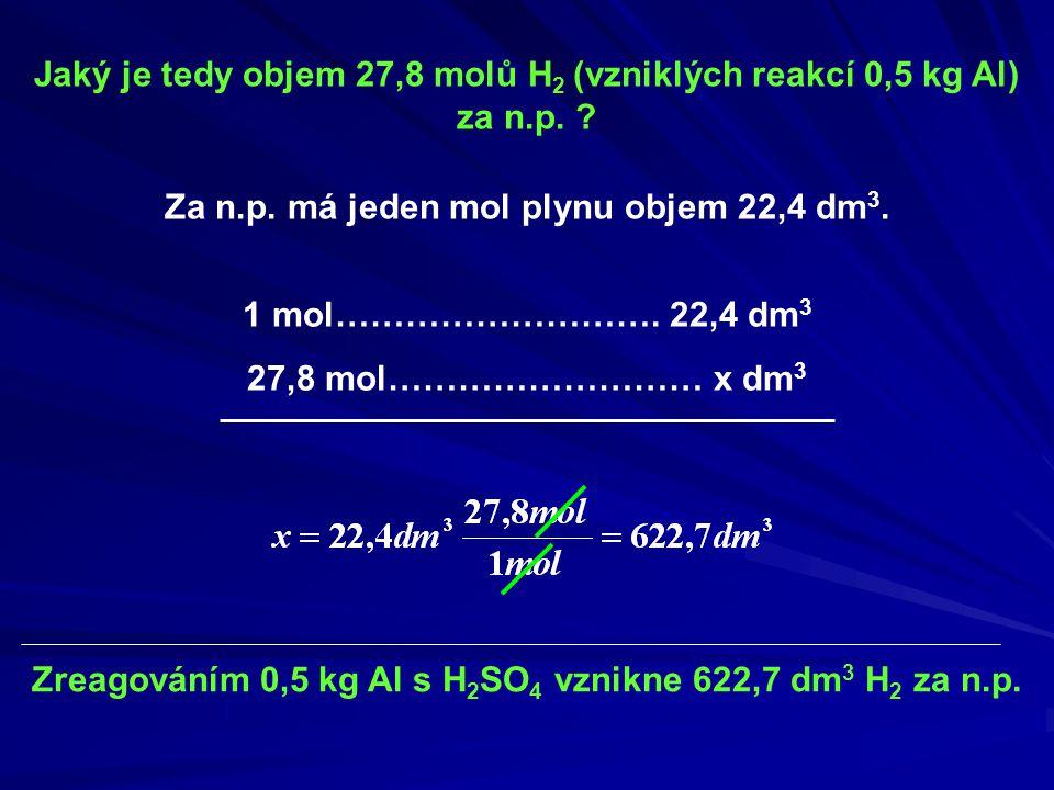 Jaký je tedy objem 27,8 molů H2 (vzniklých reakcí 0,5 kg Al) za n.p.