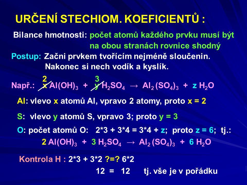 URČENÍ STECHIOM. KOEFICIENTŮ :