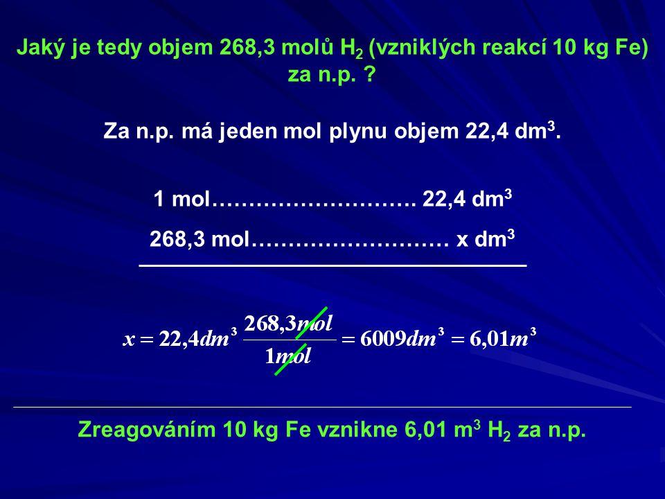 Jaký je tedy objem 268,3 molů H2 (vzniklých reakcí 10 kg Fe) za n.p.