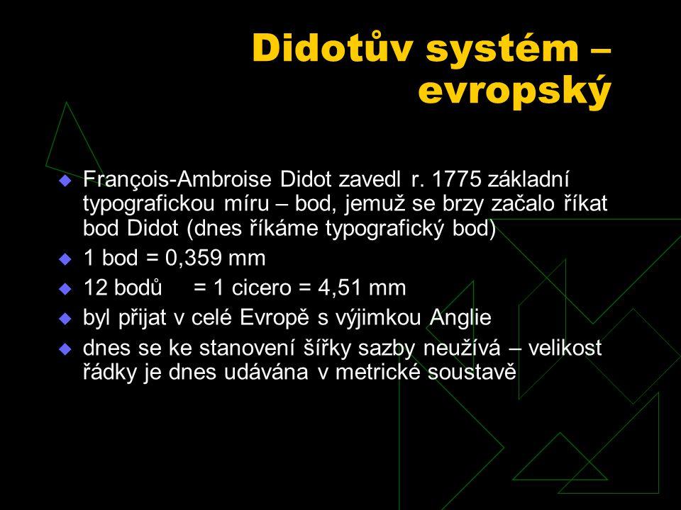 Didotův systém – evropský