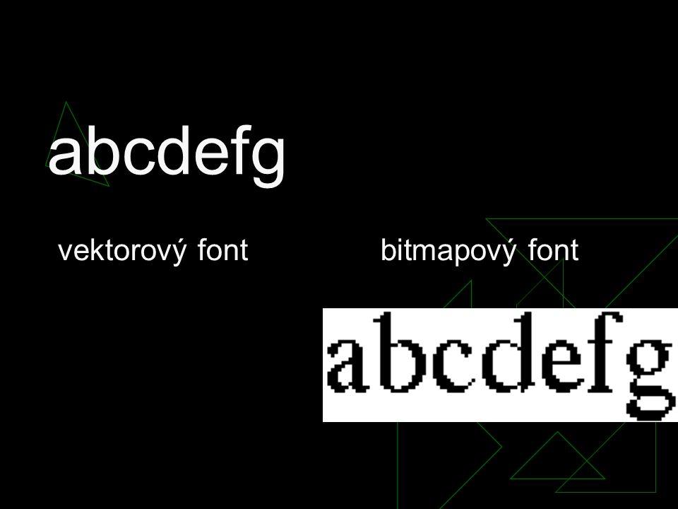 abcdefg vektorový font bitmapový font