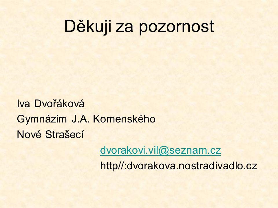 Děkuji za pozornost Iva Dvořáková Gymnázim J.A. Komenského