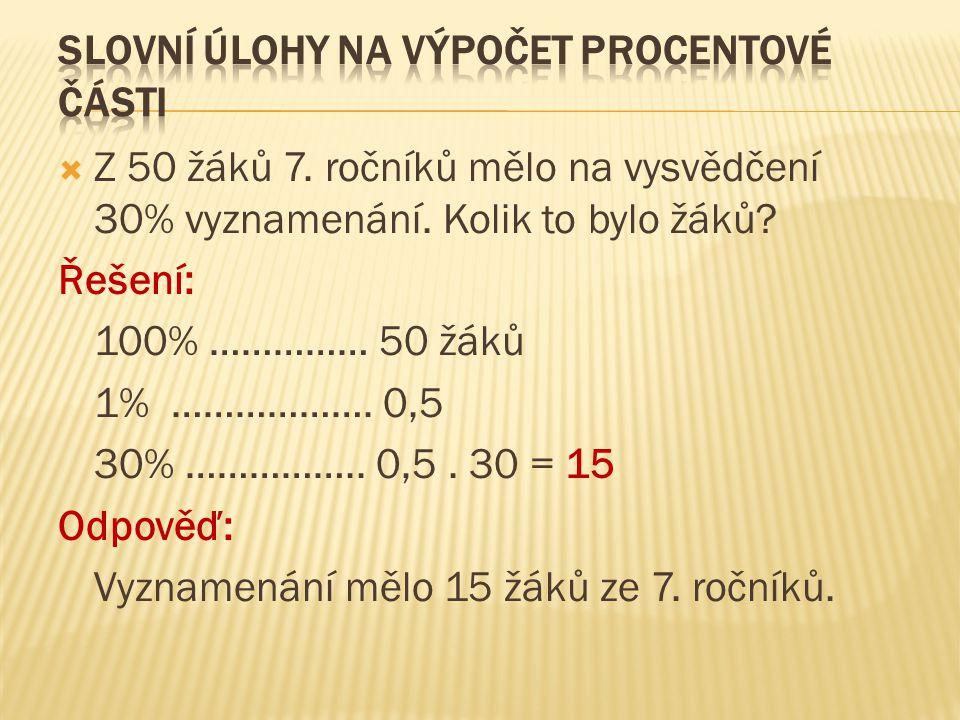 Slovní úlohy na výpočet procentové části