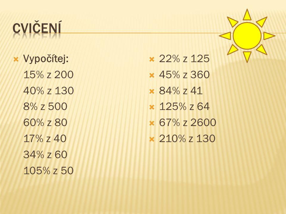 Cvičení Vypočítej: 15% z 200 40% z 130 8% z 500 60% z 80 17% z 40