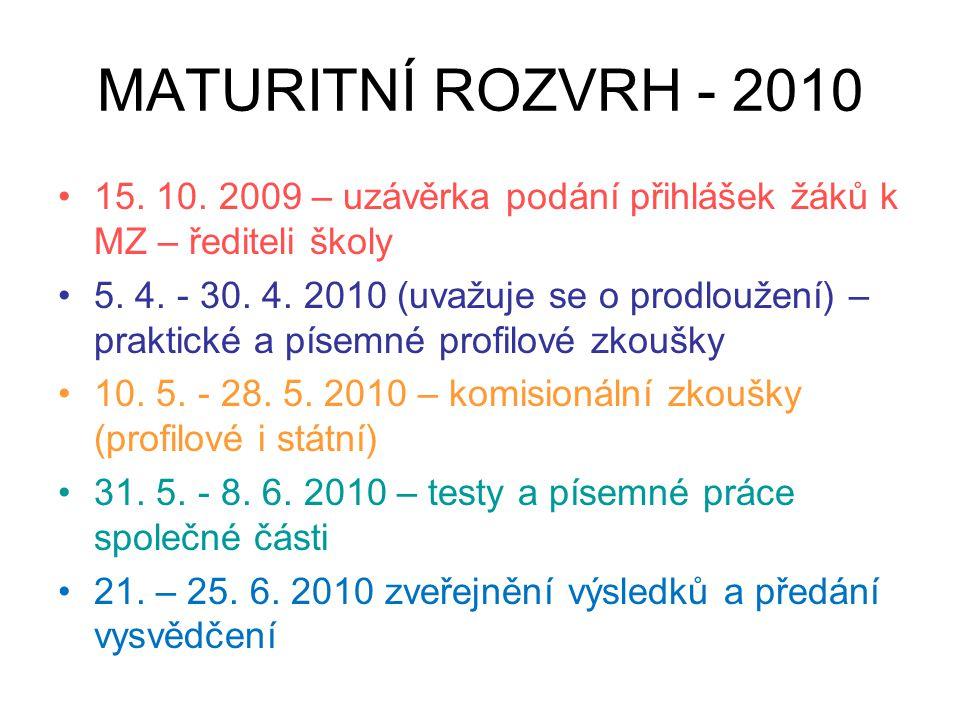 MATURITNÍ ROZVRH - 2010 15. 10. 2009 – uzávěrka podání přihlášek žáků k MZ – řediteli školy.