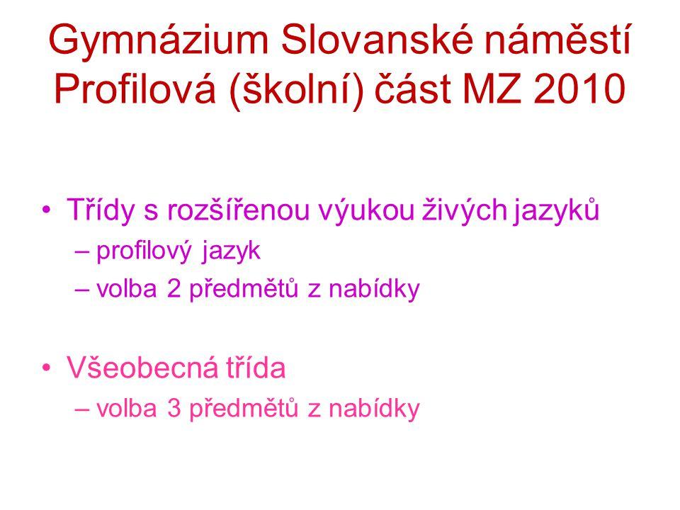 Gymnázium Slovanské náměstí Profilová (školní) část MZ 2010