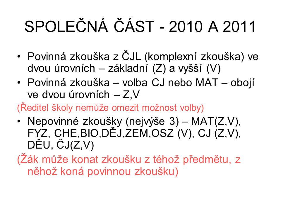 SPOLEČNÁ ČÁST - 2010 A 2011 Povinná zkouška z ČJL (komplexní zkouška) ve dvou úrovních – základní (Z) a vyšší (V)