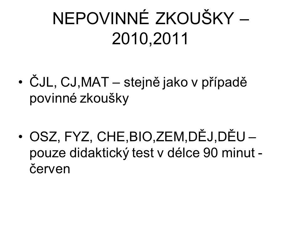 NEPOVINNÉ ZKOUŠKY – 2010,2011 ČJL, CJ,MAT – stejně jako v případě povinné zkoušky.