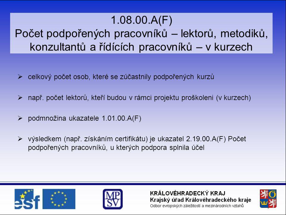 1.08.00.A(F) Počet podpořených pracovníků – lektorů, metodiků, konzultantů a řídících pracovníků – v kurzech
