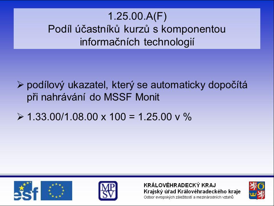 1.25.00.A(F) Podíl účastníků kurzů s komponentou informačních technologií