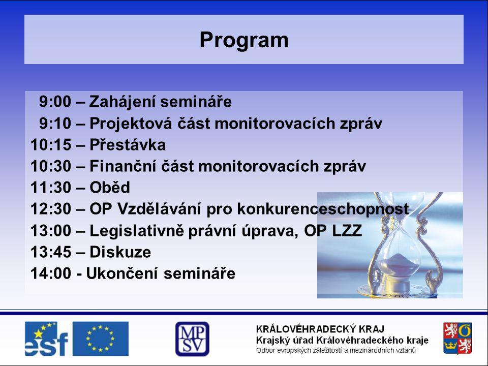 Program 9:00 – Zahájení semináře
