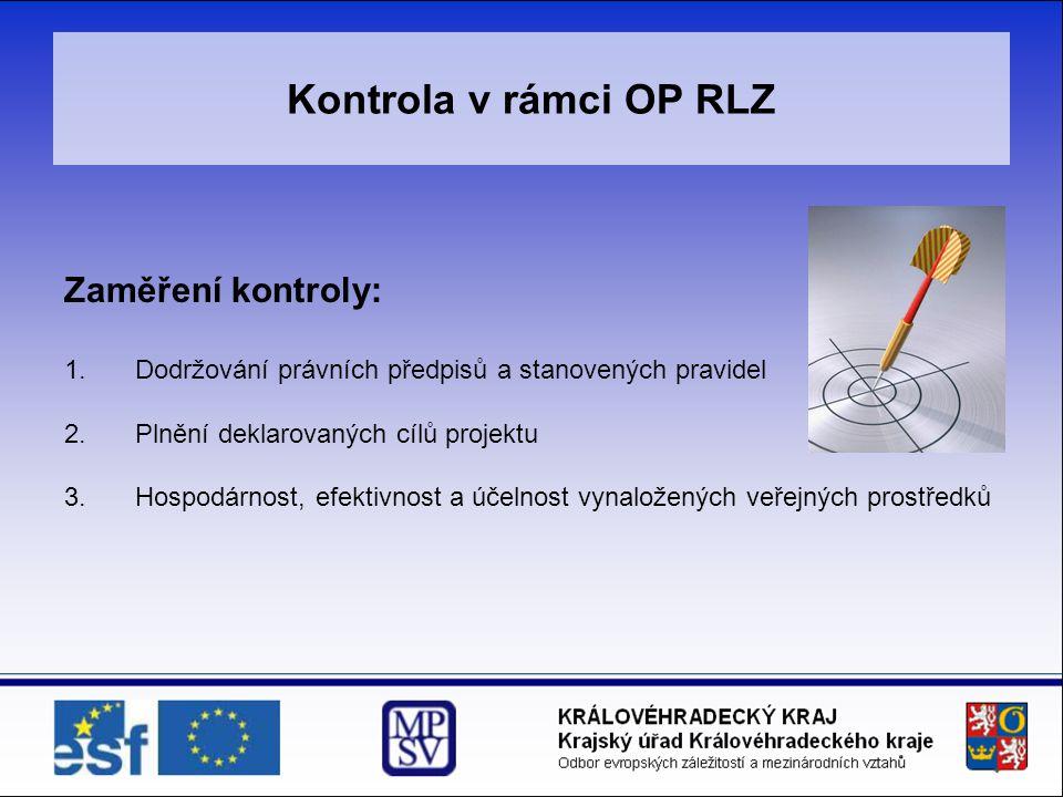 Kontrola v rámci OP RLZ Zaměření kontroly: