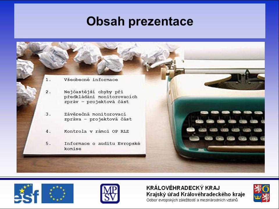 Obsah prezentace Všeobecné informace