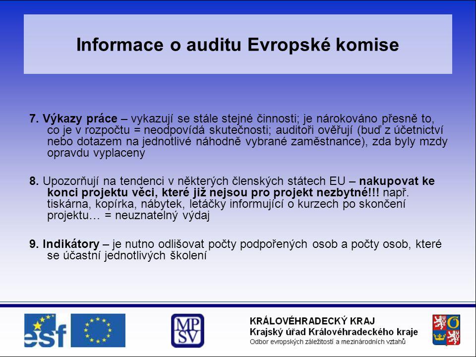 Informace o auditu Evropské komise