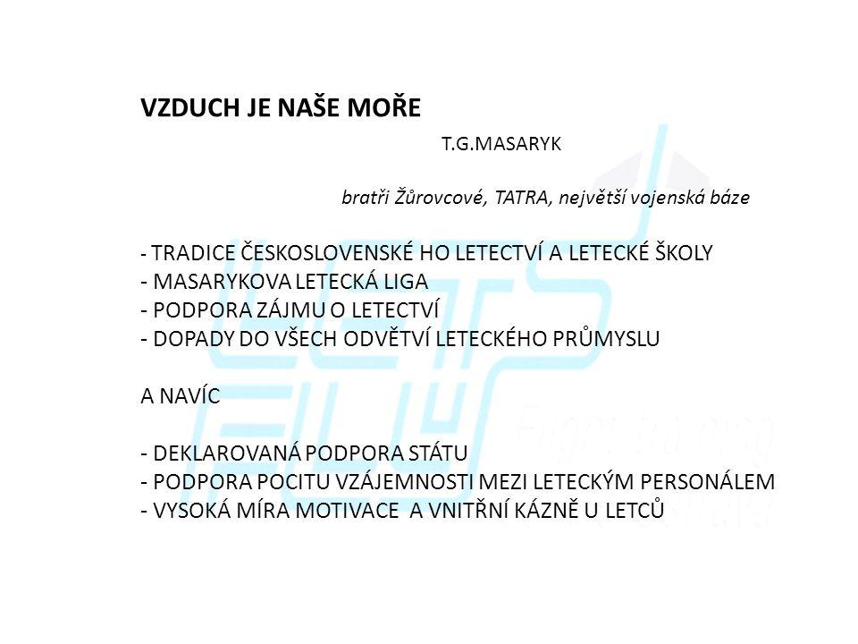 VZDUCH JE NAŠE MOŘE T.G.MASARYK MASARYKOVA LETECKÁ LIGA