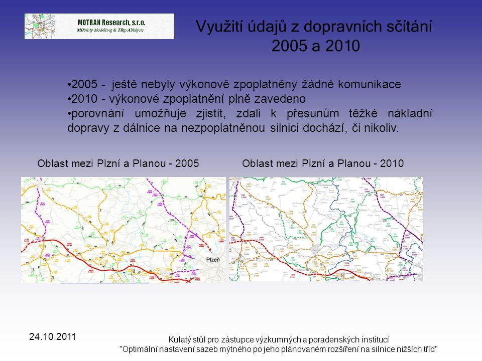 Využití údajů z dopravních sčítání 2005 a 2010