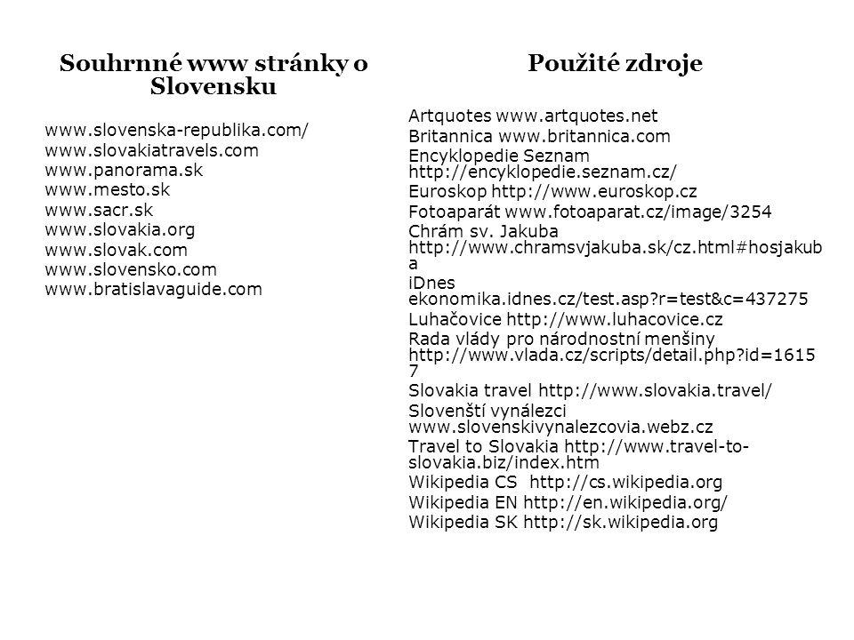 Souhrnné www stránky o Slovensku