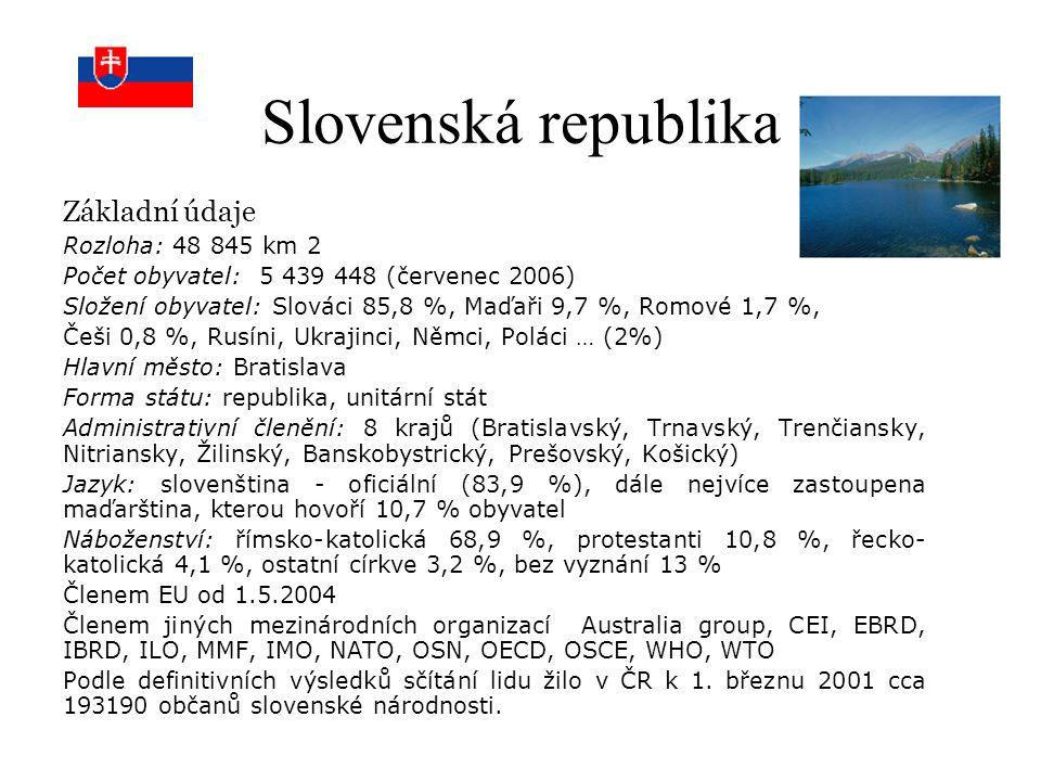 Slovenská republika Základní údaje Rozloha: 48 845 km 2