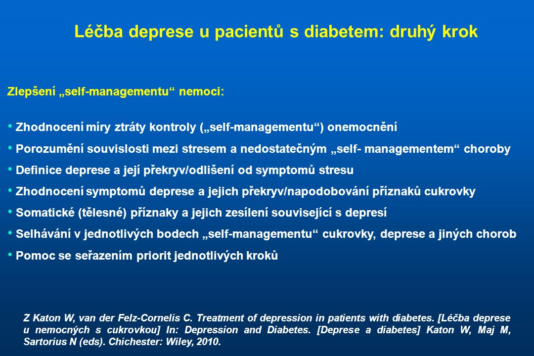 Léčba deprese u pacientů s diabetem: druhý krok