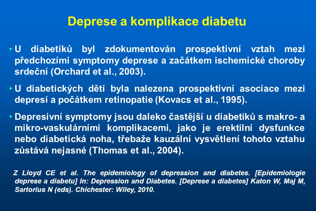 Deprese a komplikace diabetu