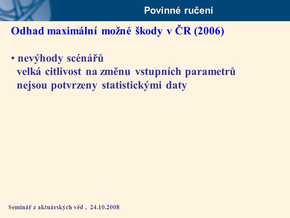 Odhad maximální možné škody v ČR (2006) nevýhody scénářů