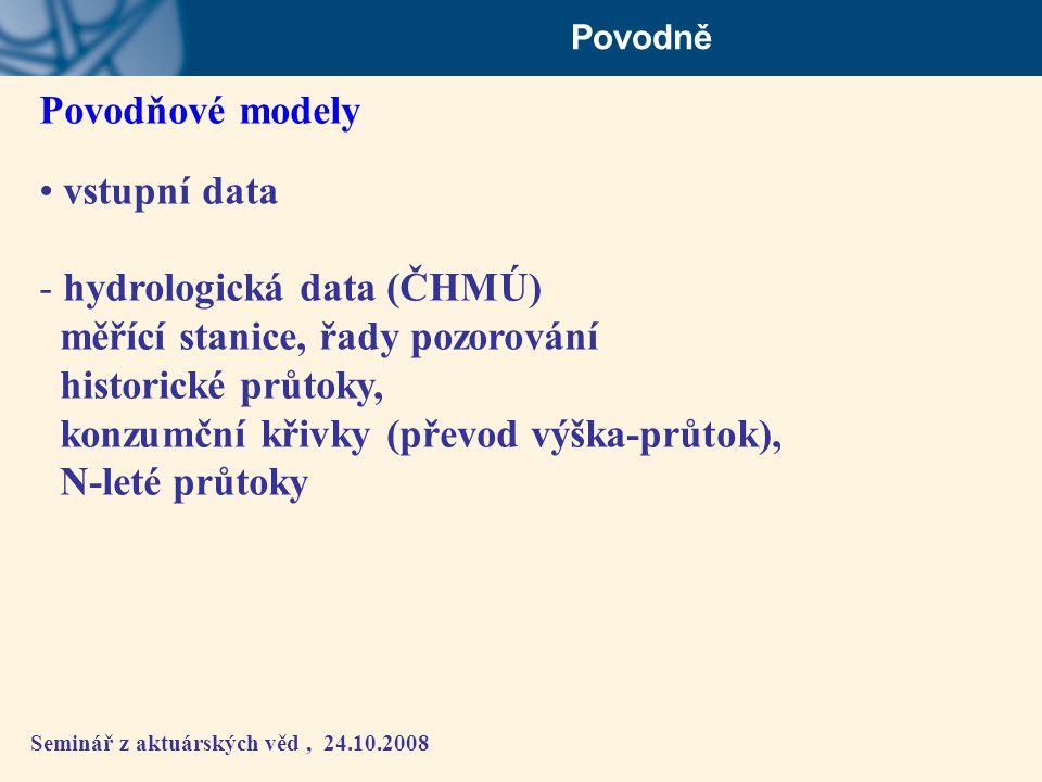 hydrologická data (ČHMÚ) měřící stanice, řady pozorování