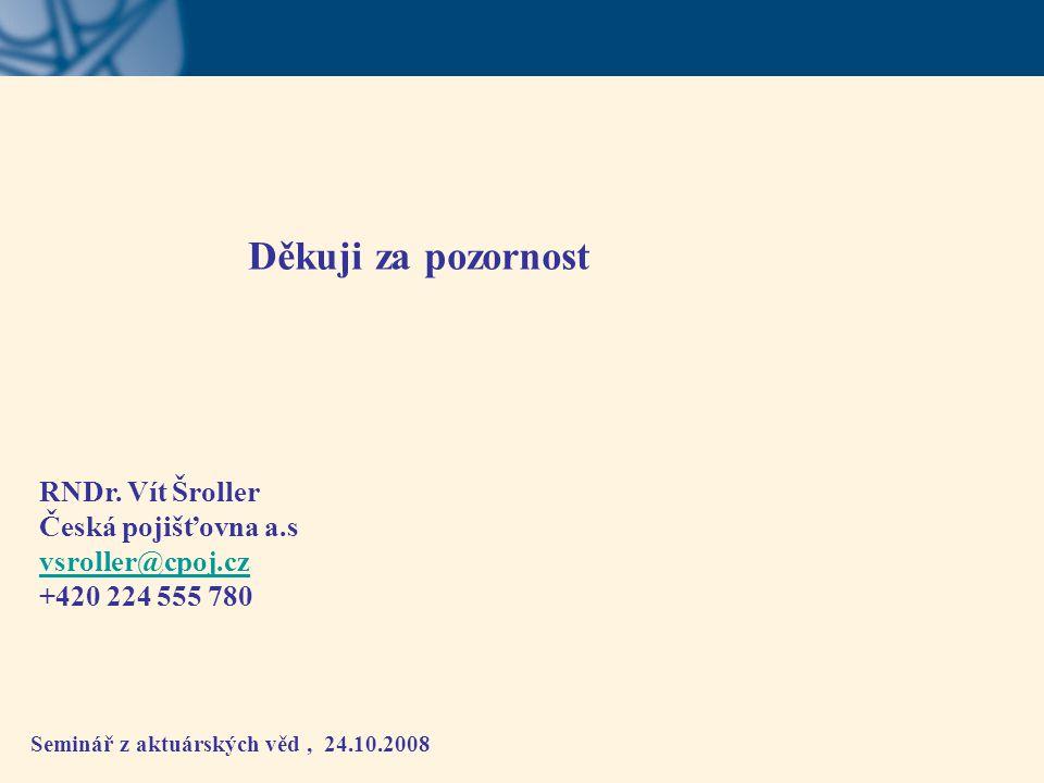 Děkuji za pozornost RNDr. Vít Šroller Česká pojišťovna a.s