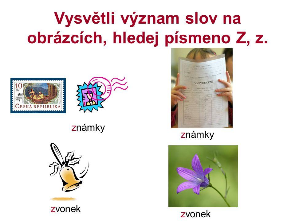 Vysvětli význam slov na obrázcích, hledej písmeno Z, z.