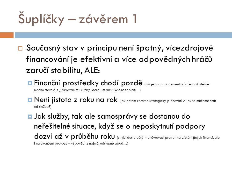 Šuplíčky – závěrem 1 Současný stav v principu není špatný, vícezdrojové financování je efektivní a více odpovědných hráčů zaručí stabilitu, ALE: