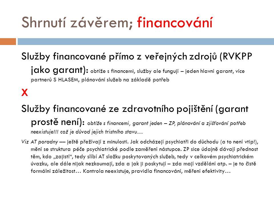 Shrnutí závěrem; financování