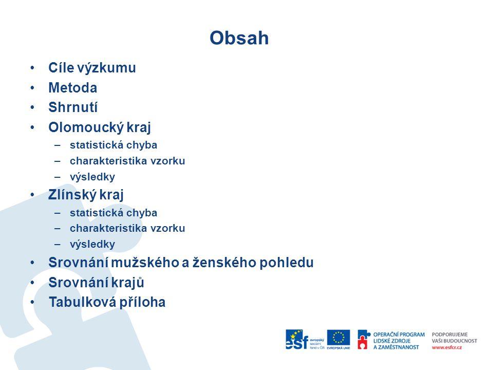 Obsah Cíle výzkumu Metoda Shrnutí Olomoucký kraj Zlínský kraj