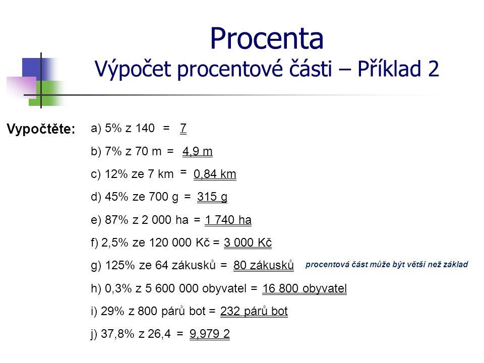 Procenta Výpočet procentové části – Příklad 2